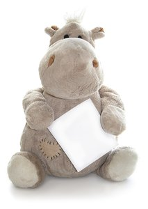 cuddly hippo: hipp Hugo with card