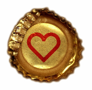 Crushed Heart: A crushed bottle cap with a heart painted on it.Please visit my stockxpert gallery:http://www.stockxpert.com ..