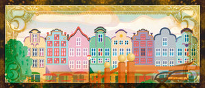 Five Dollar: An illustration of buildings with a money border.Please visit my stockxpert gallery:http://www.stockxpert.com ..