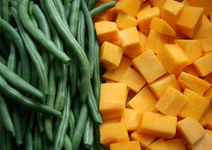 Vegetables: chopped pumpkin and french bean