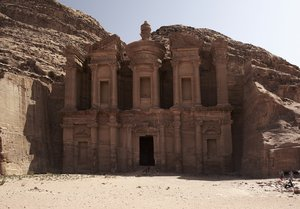 Monastery in Petra: Famous monument called Monastery in Petra, Jordan
