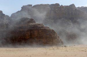 Sandstorm in desert Wadi Rum