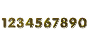 Golden numbers on white