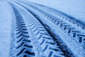 Snow Track: Tracks in the snow after a big vehicle