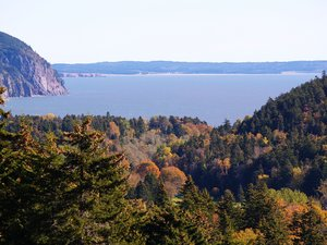 Rugged Coast line: A view of the Bay of fundy from Fundy national park New Brunswick Canada