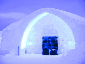 Ice Hotel entrance: The Ice Hotel in Jukkasjarvi in the far north of Sweden