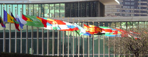 UN flags: Flags outside the United Nations building, NY 2006