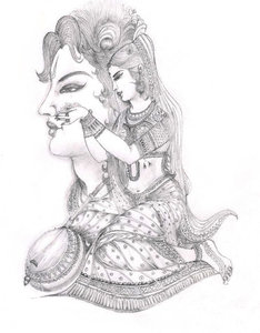 Sketch: Sketch of a classical indian character. Meerabai the female