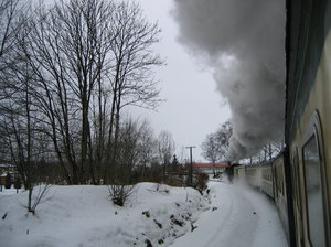 steam locomotive: shot in a train with a steam locomotive