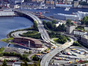 motorway junction: This motorway junction can be found in Bergen, Norway. It seems that traffic has conquered every centimetre of free space in this beautiful place.