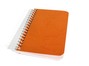 Spiral Notebook: A small spiral notebook that would fit in a shirt pocket.