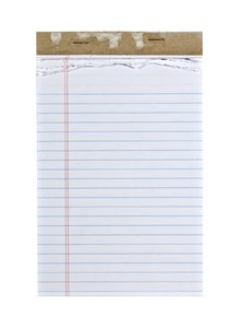 Note Pad: A common lined paper notepad.