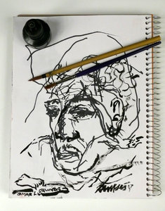 Ink Sketch: A photo of an ink sketch with the ink bottle and brush.