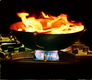 Hot Wok: Hot Wok in flames