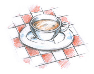 Café Coffee Cup: Café Coffee Cup on a red tablecloth