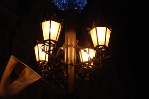 lanterns: city at night, night, buildings, lighting, street lamps, ornaments, decorated, decorations, lanterns, lights, city, lighthouse, Wroclaw, market, façade, ornamental