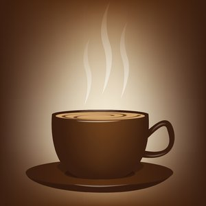 Luv a Cuppa 2: Steaming cup of coffee/chocolate/tea over a warm, brown background.