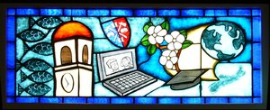 University Life: Stained Glass at University Hall of Acadia University, Wolfville, Nova Scotia, Canada