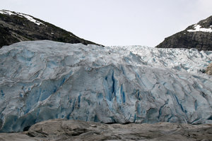 Glacier landscape: Landscape view of the lower edge of an enormous glacier in Norway.