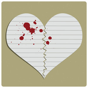 Broken: Raster illustration of paper heart
