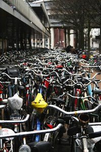 Bikes parked in Amsterdam