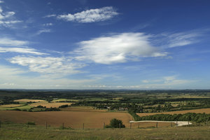 Downland sky: Summer evening cloud formations as seen from the South Downs, East Sussex, England.
