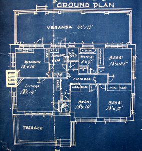 house plan blueprint: old faded architectural house plans - blue print copies