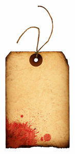 Splat Tag: A vintage tag with a blood stain.