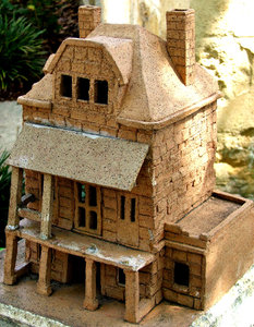 terracotta model: a slightly damaged terracotta display model of an historic building