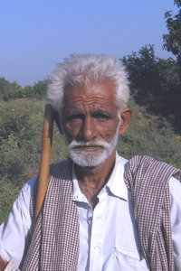 Indian farmer: An aged farmer at Village Sevasi in Gujarat, India.
