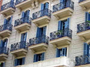 blue balconies: Barcelona, Spain