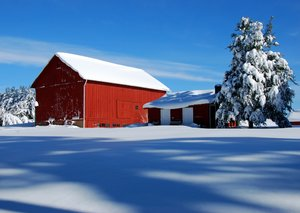 Red Barn in Snow 1