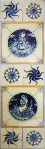 Old blue ceramic tiles. Hand p