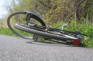 BICYCLE ON THE ROAD: Someone laid his bike on the road