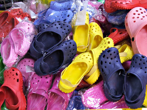 shoes of colour: variety of coloured synthetic shoes - children's shoes