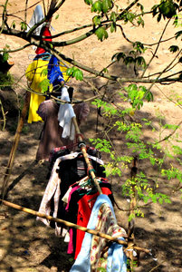 another washing day: washing hanging out to dry - clothes drying - in Singapore