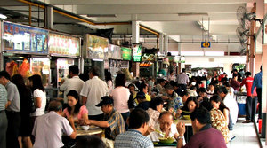 market eatery: Singapore food market eatery - variety - open eating area - alfresco dining