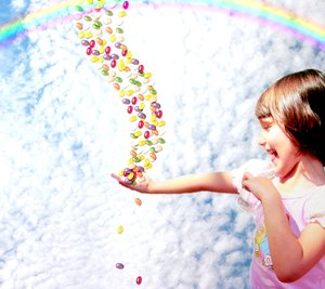 Jellybean Heaven: An excited child catches jellybeans from heaven. Not technically great, but I think it could be useful, and it's such a happy image.