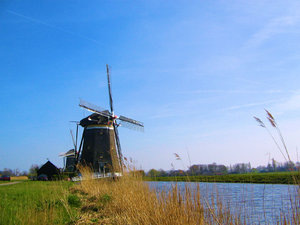 Mill: Three windmills close to Stompwijk (near The Hague), Holland.