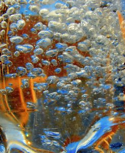 Bubbles: water bubbles in a plastic bottle