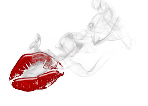 lips with smoke