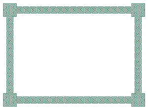 Geometric Border 3: A border of classic geometric scrolls and embellished corner elements in green.  Lots of copy space.