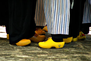 solid dancing shoes: Dutch wooden shoes or clogs worn by costumed  national cultural dancers