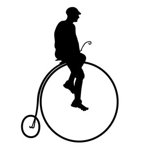 man riding a penny farthing