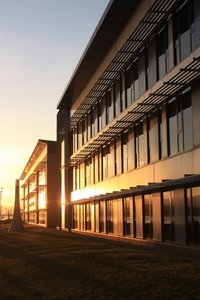 Modern office building: A modern office building in low, winter sun