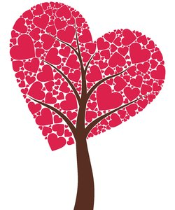 Tree of Love 4: Tree consisting of hearts on the white background