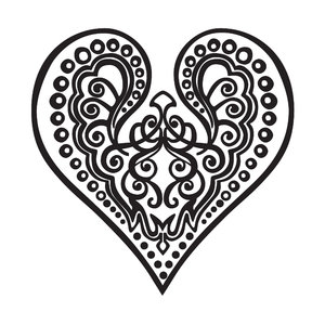 Heart: an elegant heart filled with swirls, waved lines en dots