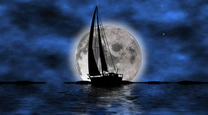 Sailing boat: Sailing boat in two versions on the night and in the morning
