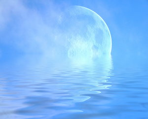 Giant Moon 3: A giant moon with misty clouds reflected in the water.