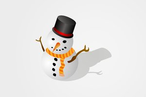 Snowman: Snowman on a white or orange background